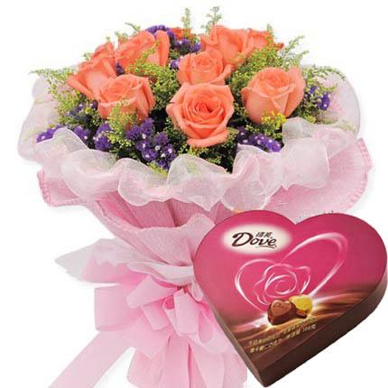 11枝粉玫瑰,黄莺丰满搭配