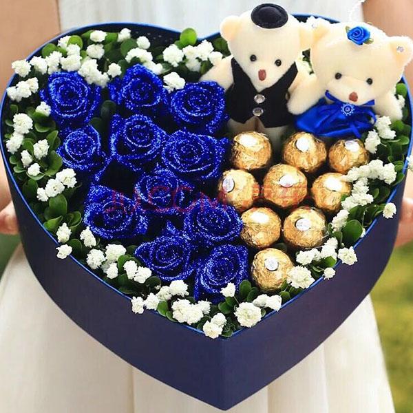 11朵蓝色妖姬,9颗巧克力
