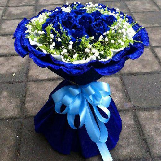 11朵蓝色妖姬,外围黄莺和满天星
