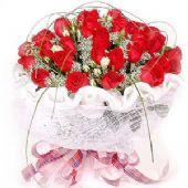 精品红玫瑰29支,配满天星